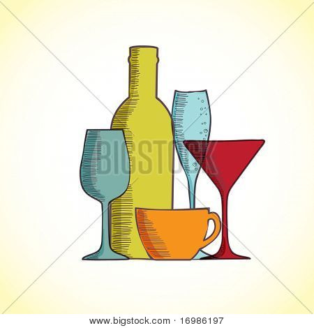 Hand-drawn illustration of wine bottles and glasses