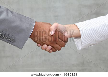 closeup of business handshake