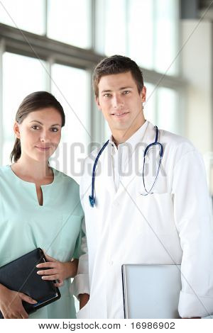 Closeup of doctor and nurse