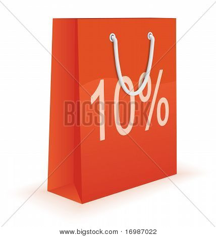 Shopping bag with percent discount sign