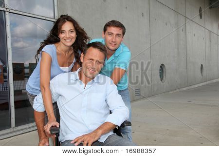 Group of office workers with handicapped person