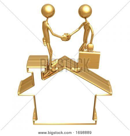 Blank Golden Home Symbol Realty Handshake