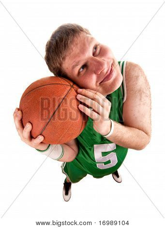Portrait Of Basketball Player With Ball