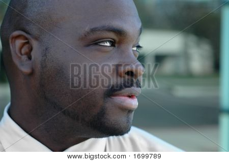 African American Man Looking Sideways