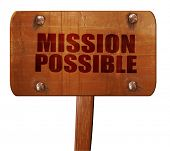 mission possible, 3D rendering, text on wooden sign poster