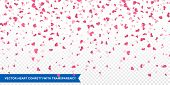 Heart confetti of Valentines petals falling on transparent background. Flower petal in shape of hear poster