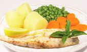 image of plate fish food  - a meal of grilled fish - JPG