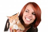 funny redhead girl with red fluffy kitten poster