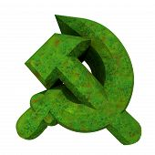 pic of hammer sickle  - 3d made hammer and sickle symbol in grass - JPG