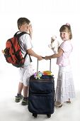 stock photo of bagpack  - Kids on vacation with suitcase and animals - JPG