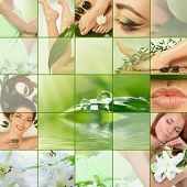 image of wet feet  - green spa collage - JPG