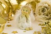 stock photo of christmas angel  - Little angel and Christmas decorations - JPG