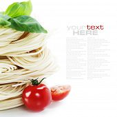 stock photo of italian food  - Italian Pasta with tomatoes and basil on a white background with sample text - JPG