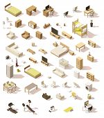 Vector isometric low poly domestic furniture set poster
