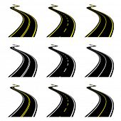 stock photo of long winding road  - vector roads - JPG