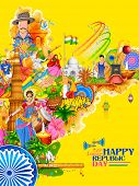 Постер, плакат: illustration of India background showing its incredible culture and diversity with monument dance a