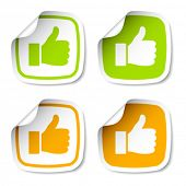 image of turn-up  - vector thumb up stickers - JPG