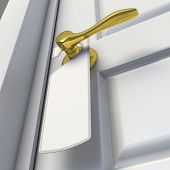stock photo of door-handle  - Blank sign on the door handle - JPG