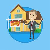 Happy caucasian real estate agent standing in front of sold real estate placard and house. Successfu poster