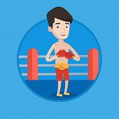 Постер, плакат: Young confident sportsman in boxing gloves Professional male boxer standing in the boxing ring Man