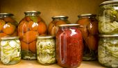 foto of household farm  - Jars with preserves homemade vegetables and jam - JPG