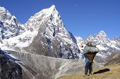 stock photo of sherpa  - Sherpa men working - Himalaya Nepal Khumbu.