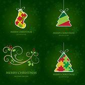 Постер, плакат: Рождественские открытки набор Векторные иллюстрации