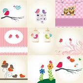 Set of 9 valentines cards with cute birds