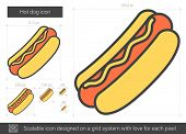 Hot dog vector line icon isolated on white background. Hot dog line icon for infographic, website or poster