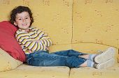 picture of televisor  - adorable child Watching TV in his home - JPG