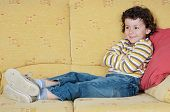 image of televisor  - adorable child Watching TV in his home - JPG