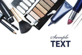 picture of cosmetic products  - Various cosmetics isolated over  the white background - JPG