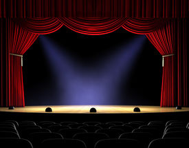picture of curtains stage  - Theatre stage with red curtain and spotlights on the stage floor - JPG