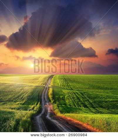 Beautiful landscape under morning sky with clouds