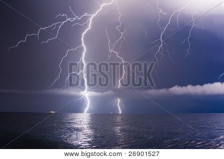 summer storm beginning with lightning