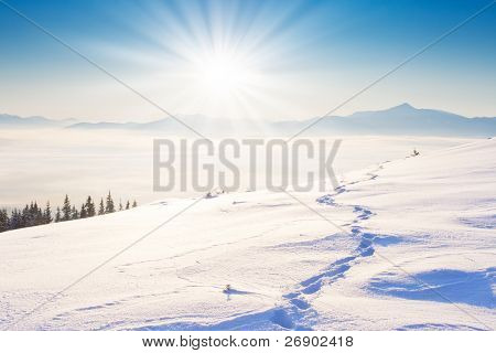 A frosty and sunny day is in mountains