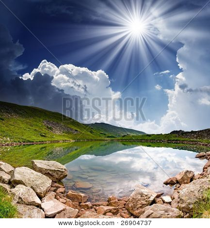 Beautiful mountains landscape over a calm lake