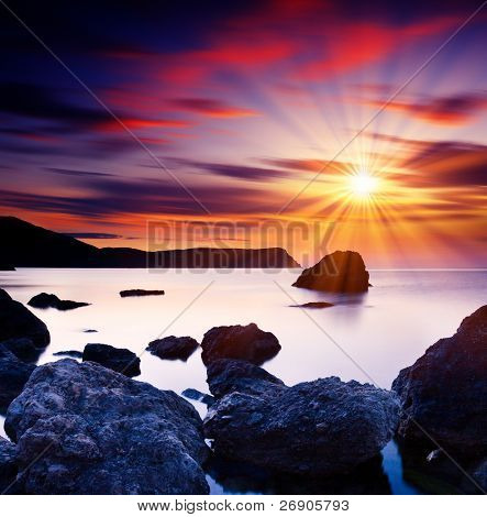 Beautiful summer sunset over the sea. HDR image