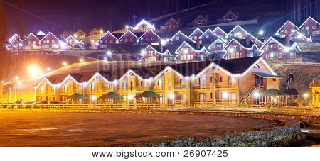 the residential house with christmas lights
