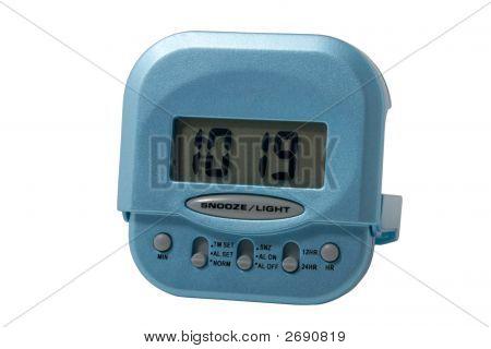 Blue Electronic Alarm Clock Isolated