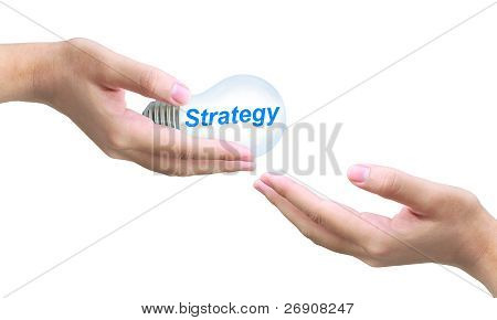 sending strategy light bulb on women hand