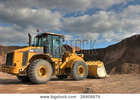 The heavy building bulldozer