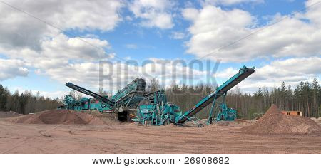Making of crushed stone at stone quarry