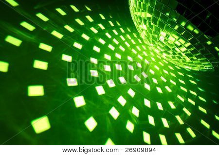Disco ball with green illumination