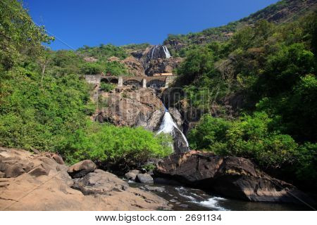 Train Crossing Dudhsagar Falls