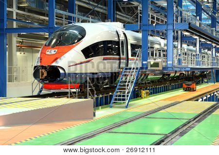 fast train in the service depot