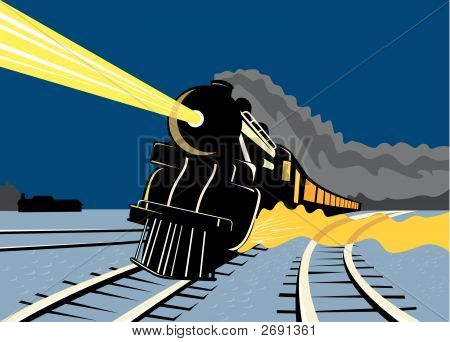 Steam Train Travelling At Night