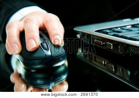 Hand Over Computer Mouse