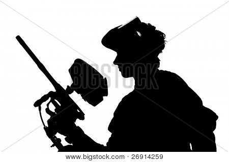 silhouette of a paintball shooter isolated on white