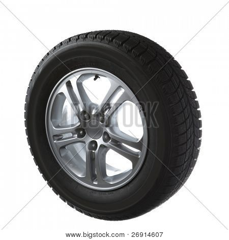 winter tires on cast wheel isolated on white